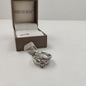 NWT 3/8 T.W. Carat Sterling Silver Bridal Ring Set